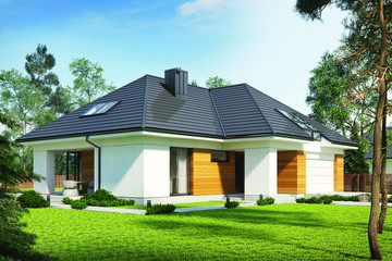 Single-family house Olaf made with the Bergamo flat roof tile
