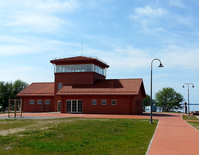 Ornithological observatory made of red natural Bornholm roof tiles