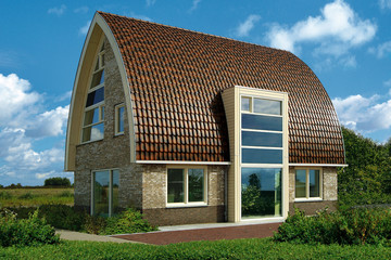 A modern house covered with rustic Piemont roof tiles